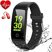 "MSDJK IP67 Waterproof Fitness Tracker, 0.96"" HD Color Screen Activity Tracker with Heart Rate&Blood Pressure Monitor, Wearable Smart Bracelet Pedometer Watch with Sleep Monitor(black)"