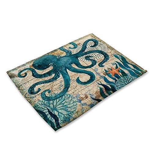 HUOYAN 2/4/6 Stück Set Küche Tischsets Baumwolle Leinen Serviette Marine Sea Turtle Octopus Muster Dekorative Tischsets (Color : 3, Size : Each Style 1 Pieces) -