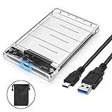 POSUGEAR Case Esterno per Disco Rigido 2.5', USB C 3.1 Gen 2(10Gbps) con UASP, Enclosure Hard Disk Caso per 2.5 '' HDD SSD SATA I/II/III 7mm e 9,5mm, Tool Free, Trasparente