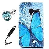Lusee® PU Housse en cuir synthétique pour Alcatel One Touch Pixi 3 4.0 pouce Coque avec étui en silicone papillon bleu