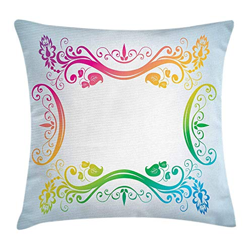 ZTLKFL Vintage Rainbow Throw Pillow Cushion Cover, Victorian Style Swirls Flowers and Foliage Leaves Colorful Classic Motifs, Decorative Square Accent Pillow Case, 18 X 18 inches, Multicolor
