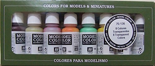Vallejo Model Color colori trasparenti-Set pittura acrilica, colori assortiti (confezione da 8)
