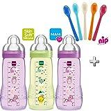 MAM bouteilles bouteilles easy Active Baby Bottle Set Girl//3 x Baby Bottle 330 ml//bébé avec tétine Taille 2