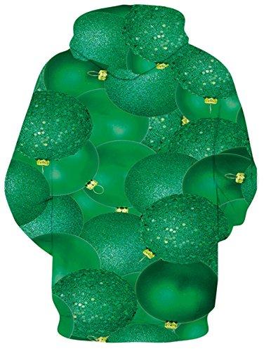 Idgreatim Unisex Kapuzenpullover 3D Bedruckte Tunnelzug Pullover Swearshirt Mit Taschen Grün Faul