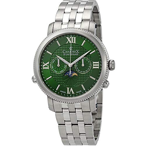 Charmex Men's Salzburg 42mm Steel Bracelet Quartz Green Dial Analog Watch 2973
