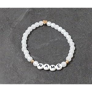 Armband mit Polarisperlen mit Namen – rosefarben – Herz – INDIVIDUELL/PERSONALISIERBAR!