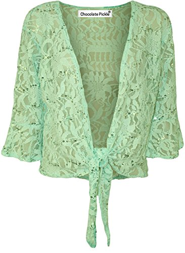 Neue Damen Plus Größe Lace Krawatte Bolero Top Pailletten Flared 3/4Sleeve mit 12–26 Gr. 50 / 52, mint (Sleeve 3 4 Strickjacke)