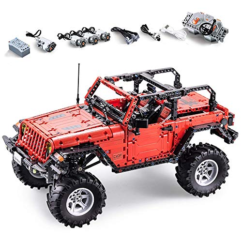 ZLI Kinder Building Block Model Kits Fernbedienung Auto, Elektronik Kit Toy 2,4 Ghz Mit LED-Beleuchtung, DIY Teaching Kreatives Spielzeug 4WD Kinder
