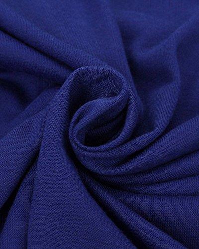 ZANZEA Femmes Sexy Solide Poitrine Capuche Col Manches Longues Shirt Haut Blouse Bleu