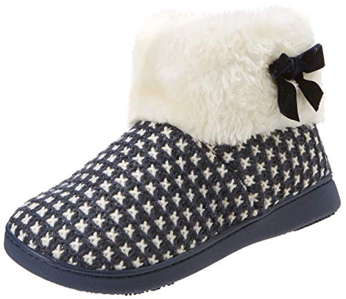 Isotoner Knit Boot Faux Fur Cuff Slipper, Chaussons Bas Femme