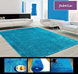 Hochflor Teppich Shaggy Flairy - Farbenfroh und Weich (90cm x 160cm, Blau/Türkis)