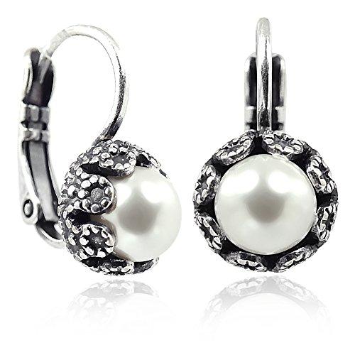 Ohrringe mit Perlen von Swarovski® Silber Weiß NOBEL SCHMUCK