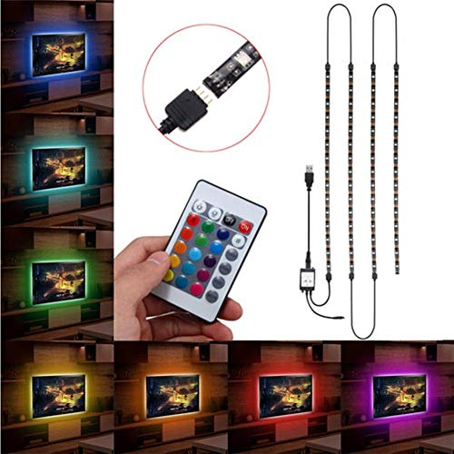 ZhanPing Strisce LED, 4X50CM USB RGB 5050 LED Impermeabile corredo della Luce di Striscia TV Backlilghting + 24 Tasti di Controllo remoto DC 5V Light String