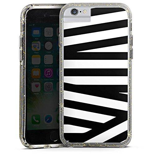 Apple iPhone 7 Plus Bumper Hülle Bumper Case Glitzer Hülle Linien Lines Pattern Bumper Case Glitzer gold