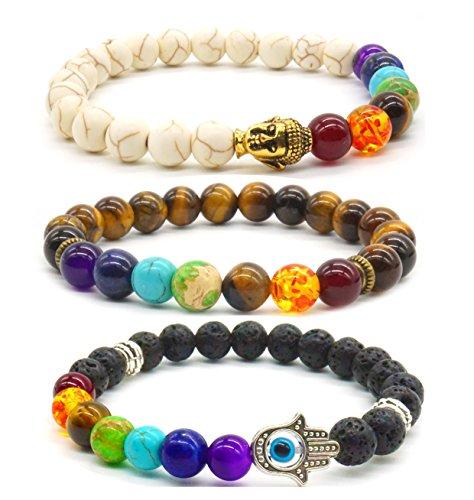 Achat Perlen 7 Chakras Energie Stein Armband Yoga Healing Balance Stein Armkette Elastisches Steinarmreif (Colour10) (Energie, Steine Chakra)