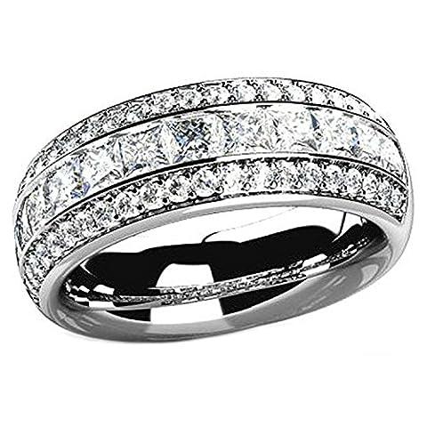 Gnzoe Schmuck Damen 925 Sterling Silber Ringe Lichtbogen Form Poliert Antiallergen Solitärring Damenringe Silber mit Zirkonia Gr.60 (19.1)