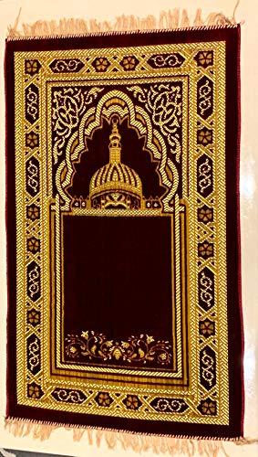 Gebetsteppich, Schwamm-gepolstert, luxuriös, islamisch, Muslim, Musalla-Teppich, mit Schnittarbeiten, Memory-Foam, design 1, 109cm x 68cm (approx) -