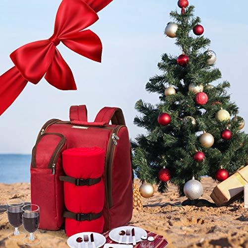 icknick Rucksack Tasche für 4Person mit Kühlfach, abnehmbare Flasche/Wein Halter, Fleecedecke, Teller und Besteck Englisch Medium rot ()