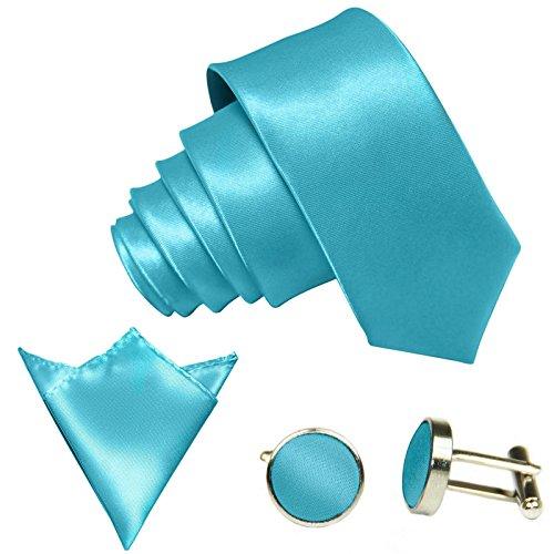 3-SET Türkis-Blaue Krawatte moderne Breite 8,5cm Binder Manschettenknöpfe Einstecktuch Satin Seide-Optik Hochzeitskrawatte
