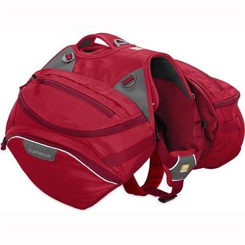 Ruffwear Strapazierfähiger Wander-Rucksack für Hunde, Inklusive 2 x 1L Wasserflasche, Große bis sehr große Hunderassen, Größenverstellbar, Größe: L/XL, Rot (Red Currant), Palisades Pack, 50202-615LL1