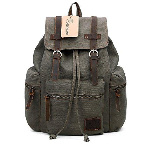 AUKMONT Vintage Canvas Rucksack Rucksäcke Herren Damen Laptop Backpack Retro Schulrucksack für Stendenten Outdoor Reise Wandern Camping Armeegrün #220