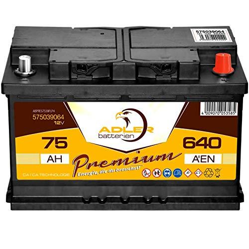 PKW Batterie 12V 75Ah 640A Adler Premium Starterbatterie statt 65 70 72 74 77 Ah