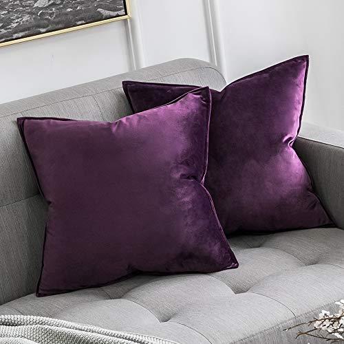 MIULEE 2er Set Samt Kissenbezug Kissenhülle Dekorative Dekokissen mit Verstecktem Reißverschluss Sofa Schlafzimmer Auto 18x 18 Inch 45 x 45 cm 2er Set Aubergine Lila