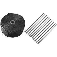 WINGONEER 15M rollo de fibra de vidrio de escape cinta aislante venda caliente Negro Kit + 10 Lazos de montaje para bajante del colector