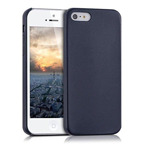 kwmobile Funda blanda con recubrimiento de cuero sintético para el Apple iPhone SE / 5 / 5S en azul oscuro