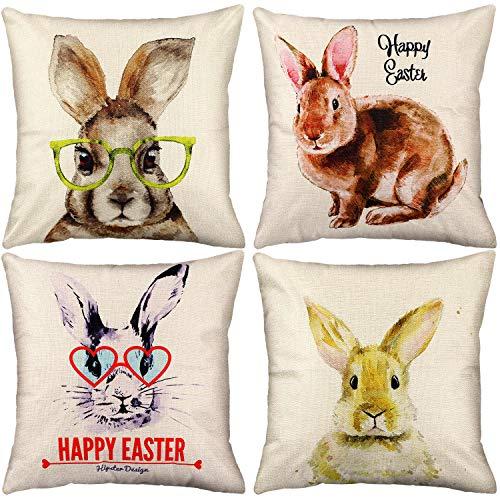 Chuangdi 4 Stück Ostern Kissenbezug Gedruckt Dekorative Kissenbezug Urlaub Kissen Dekoration für Ostern Lieferungen (Satz 1)