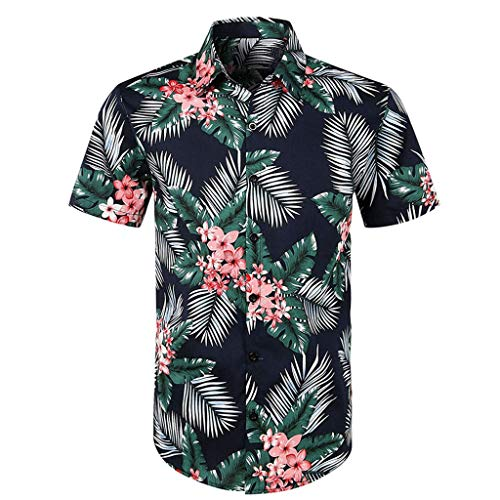 CICIYONER Herren Hawaiihemd Sommer Kurzarmhemd Blumenprint Funky Hawaiishirt Freizeithemd Urlaub Hawaii-Print S M L XL XXL XXXL - Hawaii Ringer
