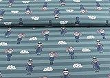 Excellenter Jersey Stoff mit Mädchen und Sternenwolken auf helltürkis/ türkis gestreift | Kombistoff | Maße: 25 cm x ca. 145 cm | 1A ÖKO-TEX Qualität Standard |