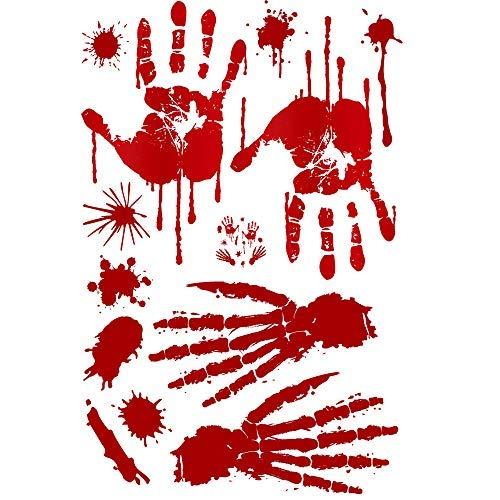 XINAINI Home Kreative PersöNlichkeit DIY Wanddekoration,Vampir Zombie Geschnitzte Blut FußAbdrüCke FußAbdrüCke,3D Realistisch Schaurig Blutige Sticker/Wandaufkleber Halloween Dekoration