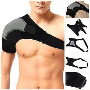 Hompo - Supporto per spalla, cinghia regolabile in neoprene, per dolore, ferite, artrite, lussazioni, per sport e palestra, Droit