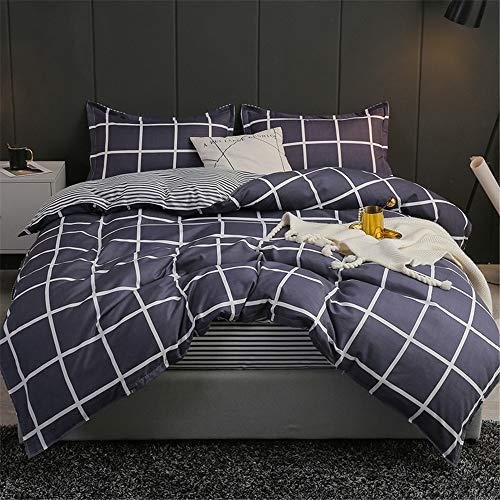 YUNSW Baumwolle Bettbezug Twin Full Queen King Size Striped Plaid Grau Bettbezug Double Size B 180x220cm