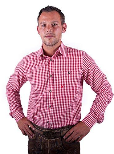 Almwerk Herren Trachten Hemd kariert Modell Ottmar 100% Baumwolle in Rot, Tanne, Schwarz, Dunkelblau, Hellgrün, Bordeaux, Hellblau und Braun, Farbe:Rot;Größe:XL