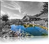 wunderschönes Haus in den Alpen schwarz/weiß Format: 100x70 auf Leinwand, XXL riesige Bilder fertig gerahmt mit Keilrahmen, Kunstdruck auf Wandbild mit Rahmen, günstiger als Gemälde oder Ölbild, kein Poster oder Plakat