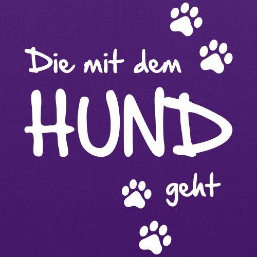 Spreadshirt Die Mit Dem Hund Geht Gassi Hunde Spruch Stoffbeutel Lila