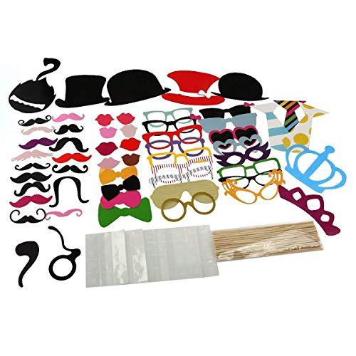 Cozywind 60 Foto Requisiten Set Fotoaccessoires witzige und lustige für Foto-Automat Hochzeit Geburtstag Garten Party oder Abschlussfeier, mit Krawatten,Hüte,Bärte,Lippen,Brillen