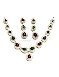 Shingar Jewellery Diamond Look Necklace Set In Ruby Panna Colour For Women (70-nad-a)