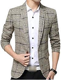 HaiDean Blazer da Uomo Blazer Bottone 1 Scozzese Slim Casual Moderna Fit  Suit Giacche Primavera Basic 766bfe209ab