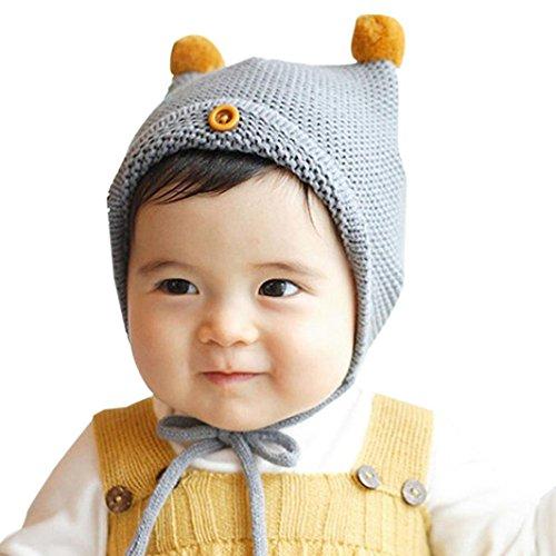 Babybekleidung Hüte & Mützen Longra Niedliche Baby Kleinkind jungen Mädchen Taste Pelzkugel gestrickt Winter warme Mütze Hüte Cap(6 Monate-2Jahre) (gray) (Mädchen Gap Kleid)
