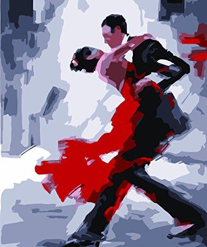 IPLST@ Senza cornice digitale dipinti ad olio da Numeri, Pop Art astratto spagnolo Tango Ballerina pittura a olio su tela, DIY Pittura a olio Kit -16x20 inch