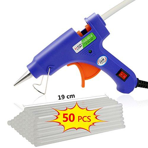 TedGem Heißklebepistole Klebepistole mit 50 Stücke 190 x 7 mm Klebesticks Heißklebesticks - Heißkleber für DIY-Handwerk und schnelle Reparaturen zuhause