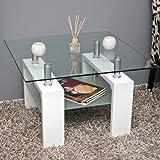 Design Glastisch Beistelltisch Edelstahl Hochglanz Weiß + 8 mm ESG Glas