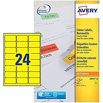 A4, 480 St/ück, abl/ösbar, 63,5 x 33,9 mm, 20 Blatt gelb AVERY Zweckform L6035-20 Farbige Etiketten