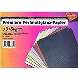 Premiere - Confezione da 50 fogli di carta perlata, formato A4, 10 colori