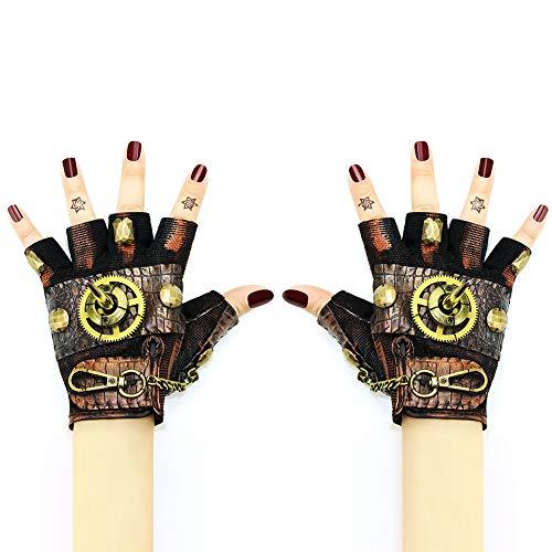 XC Steampunk Halloween Rock Lokomotive Half Finger Linke Hand Handschuh, Handgemacht, Rollenspiel Prom Party Requisiten, 4 Optional,XL
