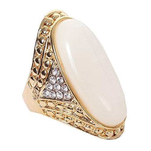 JUSTFOX - Luxus Edelstahl Ring großer ovaler glänzender Stein Gr. 18 Umf. 58 (Mondstein Ring Claddagh)
