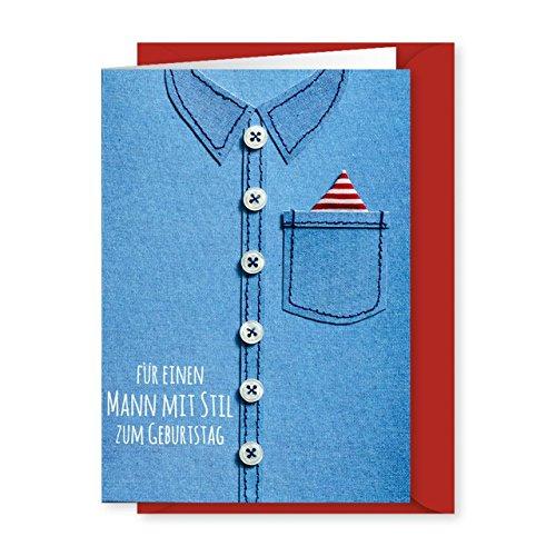 Knopfkarte 04 - Mann mit Stil - Geburtstagskarte